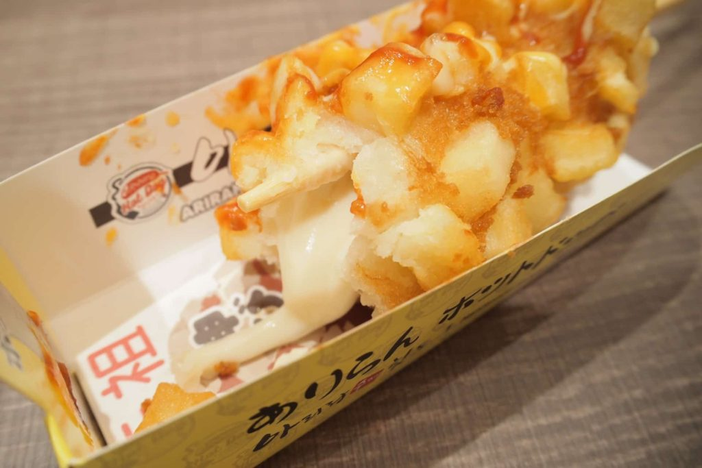 アリランホットドッグ 神戸マルイ店 神戸 三宮 ありらんホットドッグ チーズドッグ ハットグ おすすめ 食べ方 ソース パウダー ポテトレーラ